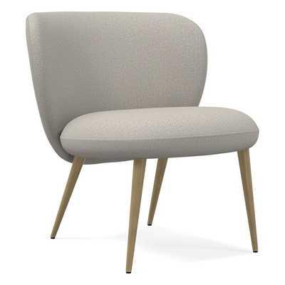 Ginger Slipper Chair, Poly, Basket Slub, Feather Gray, Antique Brass - West Elm