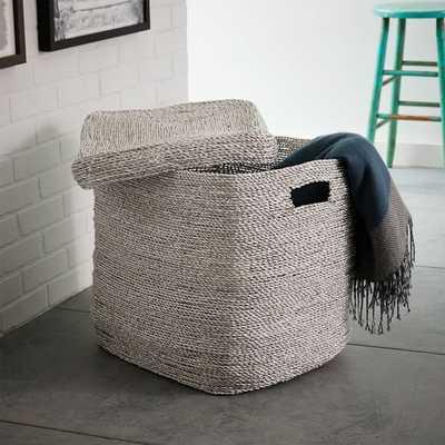Metallic Woven Oversized Basket, Silver Plastic - West Elm