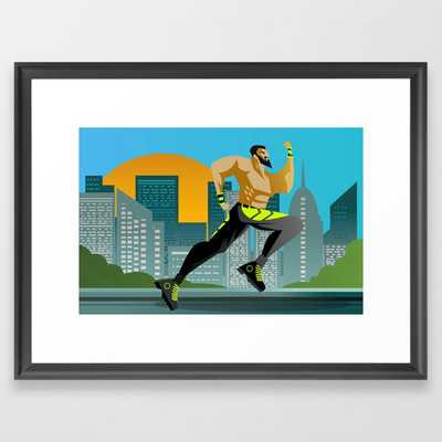 fitness runner training in the city Framed Art Print - Society6