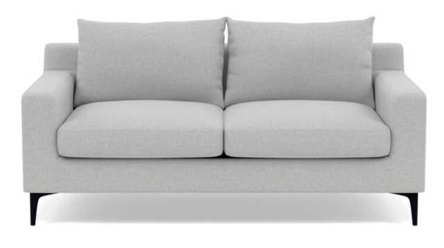 "SLOAN Loveseat-Ecru Monochromatic Plush, Matte Black Sloan L Leg, 63"", 2 Cushions, Standard down blend - Interior Define"