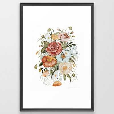 Roses and Poppies Framed Art Print - Society6