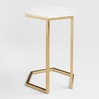 Natural Stone And Gold Metal Margaux Laptop Table - World Market/Cost Plus