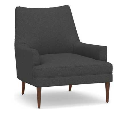 Reyes Upholstered Armchair, Polyester Wrapped Cushions, Basketweave Slub, Charcoal - Pottery Barn