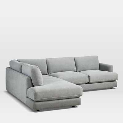 Haven Sectional Set 02: Right Arm Sofa, Left Arm Terminal Chaise, Performance Washed Canvas, Gray - West Elm
