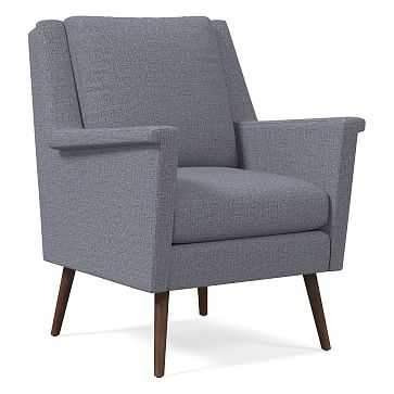 Carlo Mid-Century Chair, Poly, Yarn Dyed Linen Weave, Shelter Blue, Pecan - West Elm