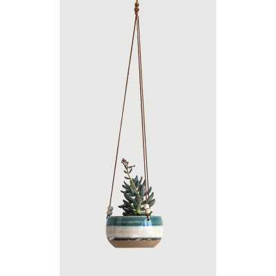 Keeble Striped Hanging Ceramic Hanging Planter - AllModern