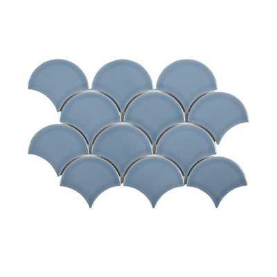 Jeffrey Court Beverly Blue Fan 8.75 in. x 13 in. x 8 mm Ceramic Mosaic Tile - Home Depot