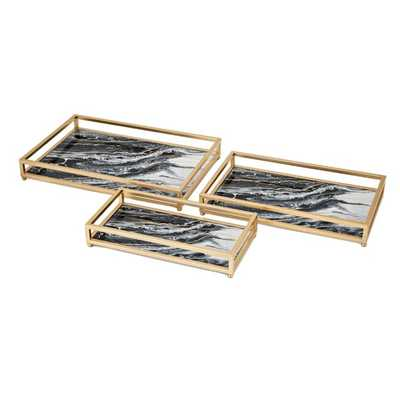 Contrast Faux Marble Decorative Trays - Set of 3 - Mercer Collection