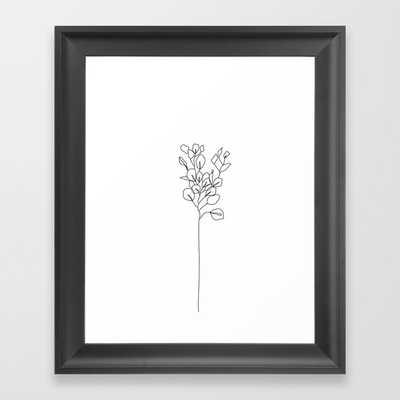 Botanical floral illustration line drawing - Eucalyptus Framed Art Print - Society6