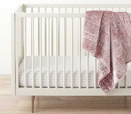 west elm x pbk Solid Lush Velvet Quilt, Toddler, Dusty Blush- PERSONALIZED (details in product description) - Pottery Barn Kids