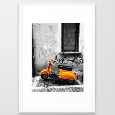 Orange Vespa in Bologna Black and White Photography - Society6