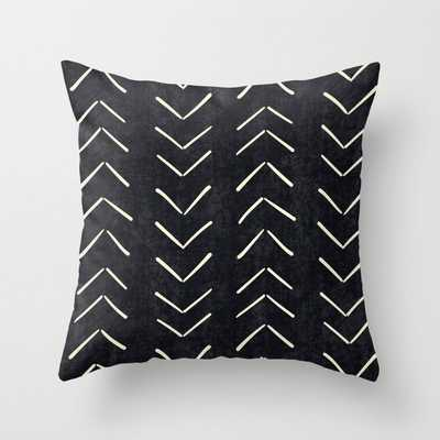 "Mudcloth Big Arrows in Black and White Throw Pillow with Insert- 20"" x 20"" Indoor Pillow - Society6"