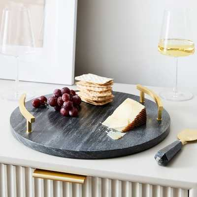 Brass & Black Marble Cheese Board, Round - West Elm