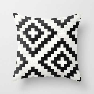 Urban Tribal Pattern No.18 - Aztec - Black and White Concrete Throw Pillow by Zoltan Ratko - indoor, 18x18 - Society6