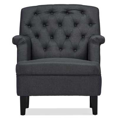 BAXTON STUDIO JESTER CLASSIC RETRO MODERN CONTEMPORARY FABRIC UPHOLSTERED BUTTON-TUFTED ARMCHAIR - Lark Interiors