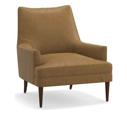 Reyes Leather Armchair, Polyester Wrapped Cushions, Statesville Toffee - Pottery Barn