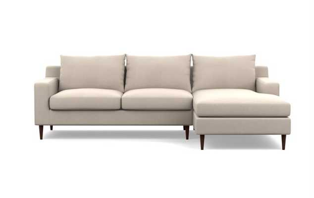 """Sloan Sectional Sofa with Right Chaise - 96"""" - Natural Heavy Cloth, Oil Walnut Tapered Round Wood - Interior Define"""