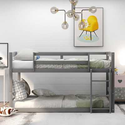 Twin Over Twin Bunk Bed,Convertible Bunk Bed, Gray - Wayfair