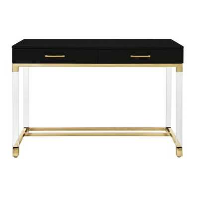 Inspired Home Joycelyn High Gloss 2 Drawers Writing Desk with Acrylic Legs and Gold Stainless Steel Base, Black/Gold - Wayfair