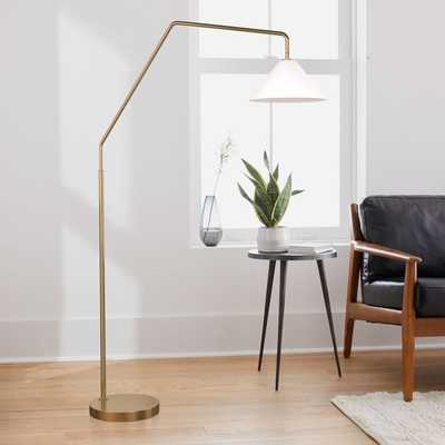Sculptural Overarching Floor Lamp, Cone Medium, Milk, Antique Brass - West Elm