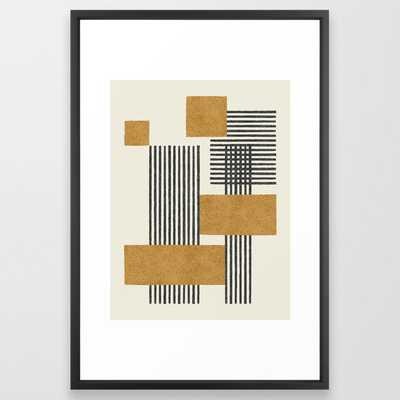 Stripes and Square Composition - Abstract Framed Art Print - Society6