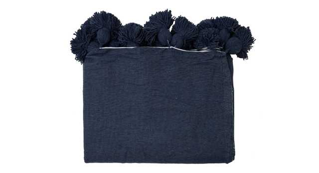 POM COTTON SOLID BLANKET - NAVY - Jayson Home
