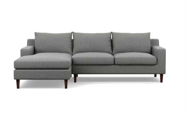 "Sectional Sofa with Left Chaise - 96"" - Plow Crossweave - Oiled Walnut Tapered Round Wood - Interior Define"