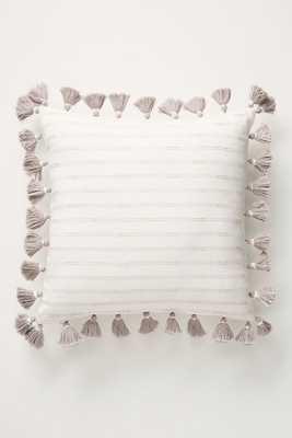 "Tasseled Pendana Pillow / 18"" / LIGHT GREY - Anthropologie"