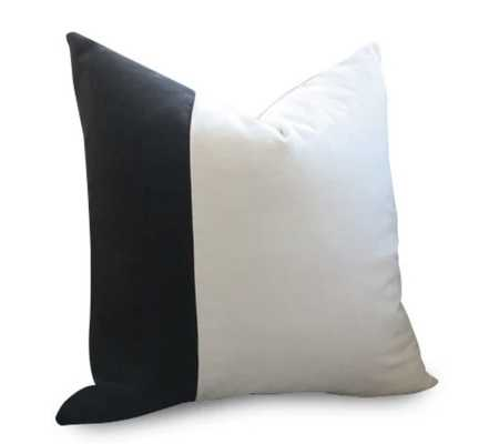Classic Colorblock Velvet Pillow Cover - Black & White - Willa Skye