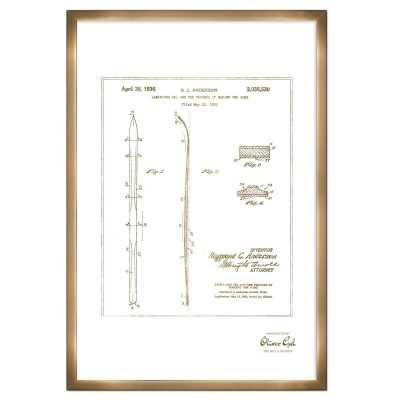 'Laminated Ski 1936' Framed Drawing Print in Gold - Wayfair