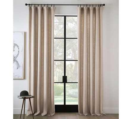 """Belgian Flax Linen Rod Pocket Curtain  100"""" W X 96"""" L - Pottery Barn"""