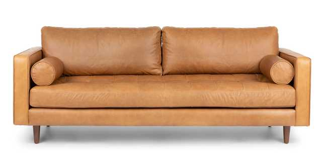 "Sven Leather Charme Tan Sofa (88"") - Article"