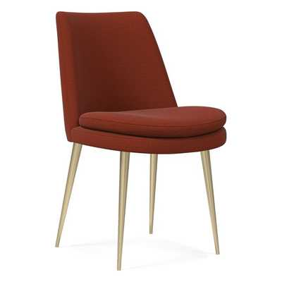 Finley Low Back Dining Chair, Distressed Velvet, Rust, Brass - West Elm