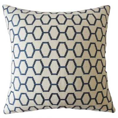 "WALDEMAR GEOMETRIC THROW PILLOW NAVY - 20"" x 20"" - Down Insert - Linen & Seam"