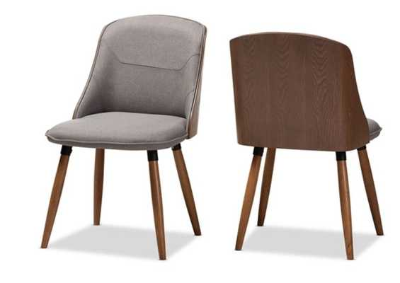 BAXTON STUDIO ARSANIO MID-CENTURY MODERN GREY FABRIC UPHOLSTERED WALNUT WOOD FINISHED DINING CHAIR SET OF 2 - Lark Interiors