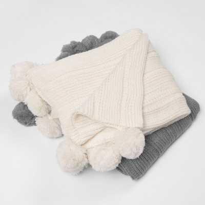 Belton Knitted Pom Throw - Wayfair