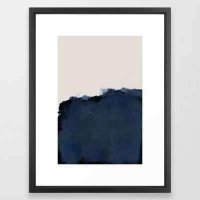 Abstract, blue, beige, indigo Framed Art Print - Society6
