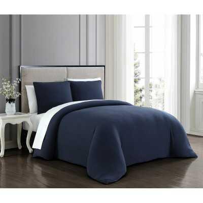 Queen Comforter + 2 Shams Navy Lemoine Comforter Set - Wayfair