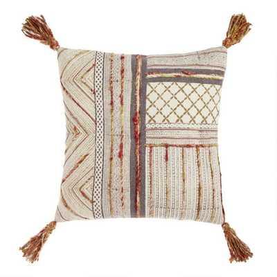 Warm Block Print Throw Pillow With Tassels - World Market/Cost Plus