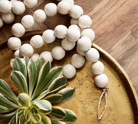 WOODEN BEAD GARLAND - WHITE - Pottery Barn