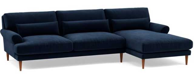 MAXWELL Sectional Sofa with Right Chaise Navy Performance Velvet - Interior Define