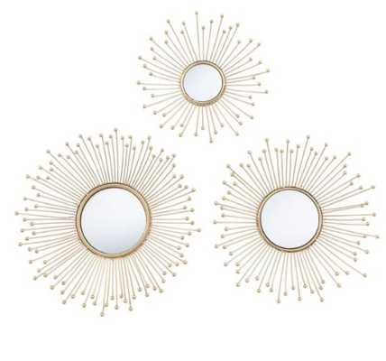 Gold Metal Sunburst Mirrors 3 Piece - World Market/Cost Plus