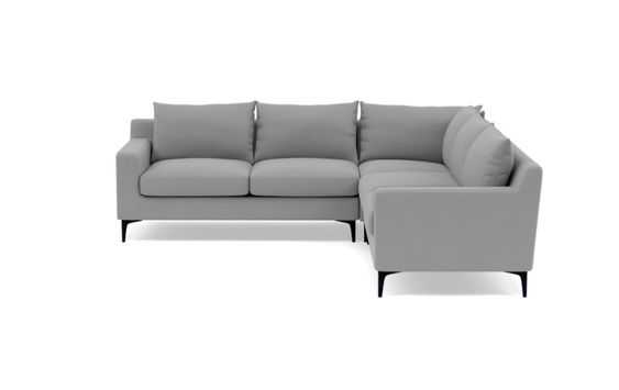 Sloan Corner Sectional with Grey Ash Fabric and Matte Black legs - Interior Define