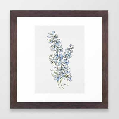"Blue Delphinium Flowers Framed Art Print // X-Small 12"" x 12"" // Conservation Walnut - Society6"