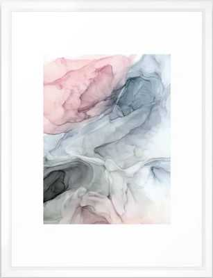 """Pastel Blush, Grey and Blue Ink Clouds Painting Framed Art Print, 20""""x26"""" - Society6"""