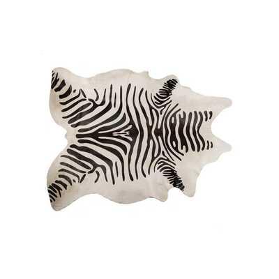 Grady Black/Off-White Zebra Cowhide Rug - Wayfair