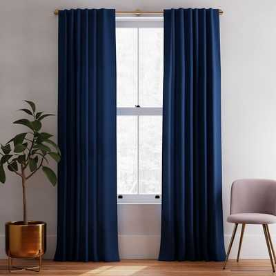 "Solid European Flax Linen Curtain - Midnight / 96"" - West Elm"