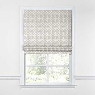 Flat Roman Shade Sunbrella® Fretwork - Pewter - 35W x 61.5L - Unlined - Loom Decor