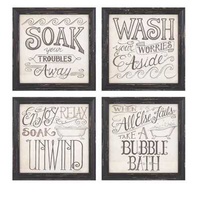 Bath Time Wall Decor - Ast 4 - Mercer Collection