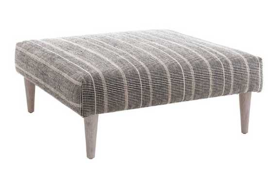 SAMSON BLACK TAPERED CERUSED OAK LEG RUG OTTOMAN - Annie Selke